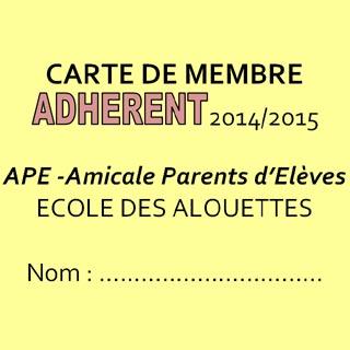 Carte de membre APE 2014/15